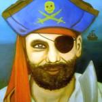 <b>Pirát</b><BR><b>Technika</b>: olej na plátně<BR><b>Rozměr</b>: 30×30 cm<BR><b>